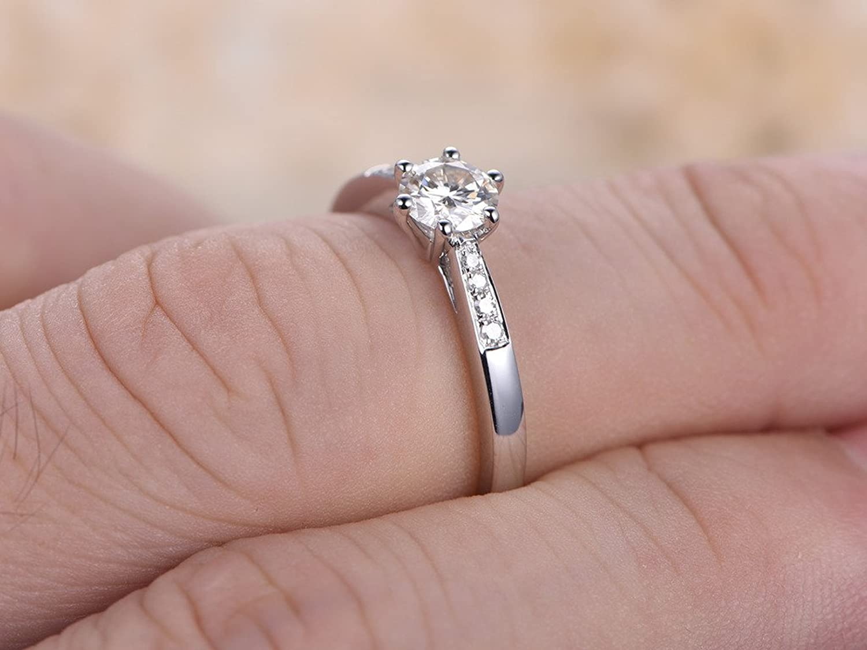 Amazon.com: 5mm Round Cut Moissanite Anniversary Ring Set,14k White ...
