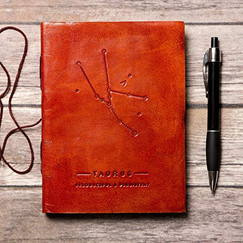 Taurus Leather Journal/Zodiac Handmade Journal/Astrology Journal/Horoscope Journal/Gifts for Him/Travel Journal/Sketchbook / Embossed Genuine Leather Journal/Your Personal Bound Notebook