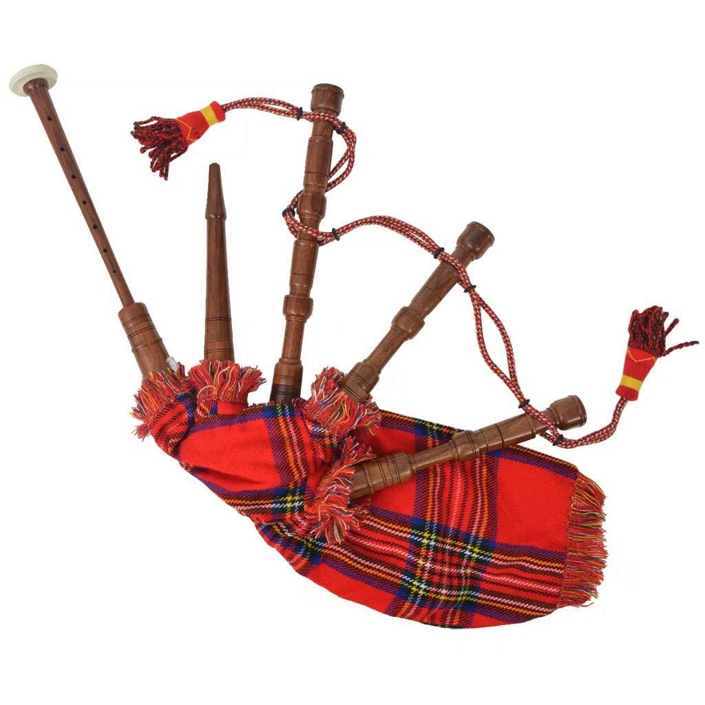 Cornamusa Scozzese Great Highland Stewart Tartan Rosso Regale Festnight Cornamusa in Palissandro