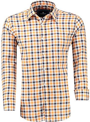 BARBONS PREMIUM Herren-Hemd Modern-Fit / Langarm Kariert / Freizeit Casual Business , Orange M