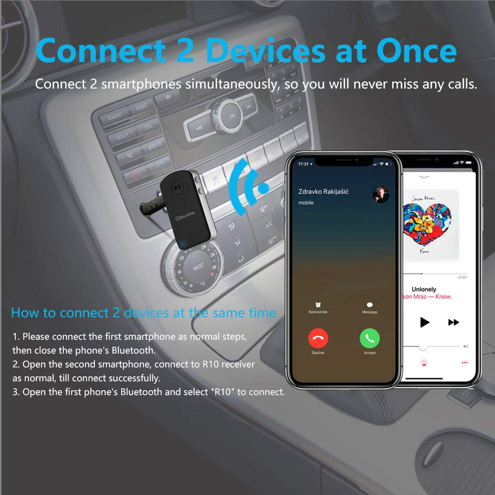 Glazata Bluetooth 4.1 Car Receiver 3.5mm AUX Wireless Adaptor A2DP Bluetooth Hands-Free Receiver for Home Audio Stereo System