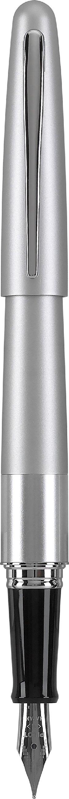 Pilot Metropolitan Collection Fountain Pen, Silver Barrel, Classic Design, Fine Nib, Black Ink (91113)