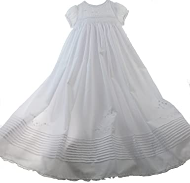403b28cef637 Newborn Girls White Smocked Long Christening Gown Pearls   Bonnet Set Sarah  Louise NB