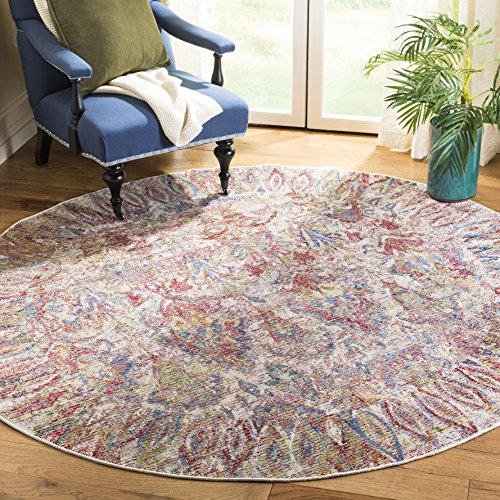 Safavieh Harmony Collection HMY401B Light Grey and Rose Round Area Rug (7' in Diameter)