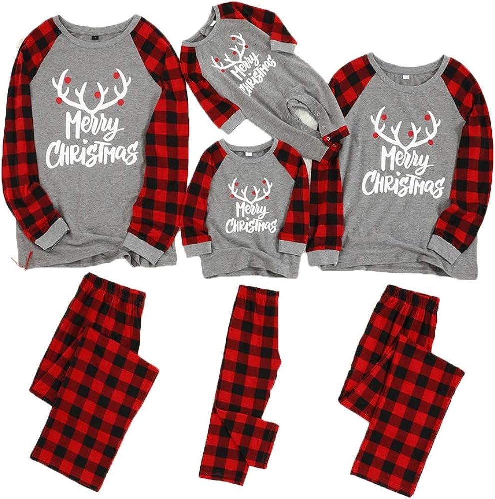 Holeider Weihnachten Schlafanzug Familie Damen Herren Kinder Baby Weihnachten Schlafanz/üge Zweiteiliger Lang Nachtw/äsche Rund Ausschnitt Sleepshirt und Lang Schlafanzughose Pyjama Set