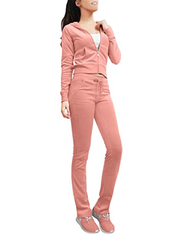 d4066e34288 NE PEOPLE Womens Casual Basic Velour Zip Up Hoodie Sweatsuit Tracksuit Set  S-3XL