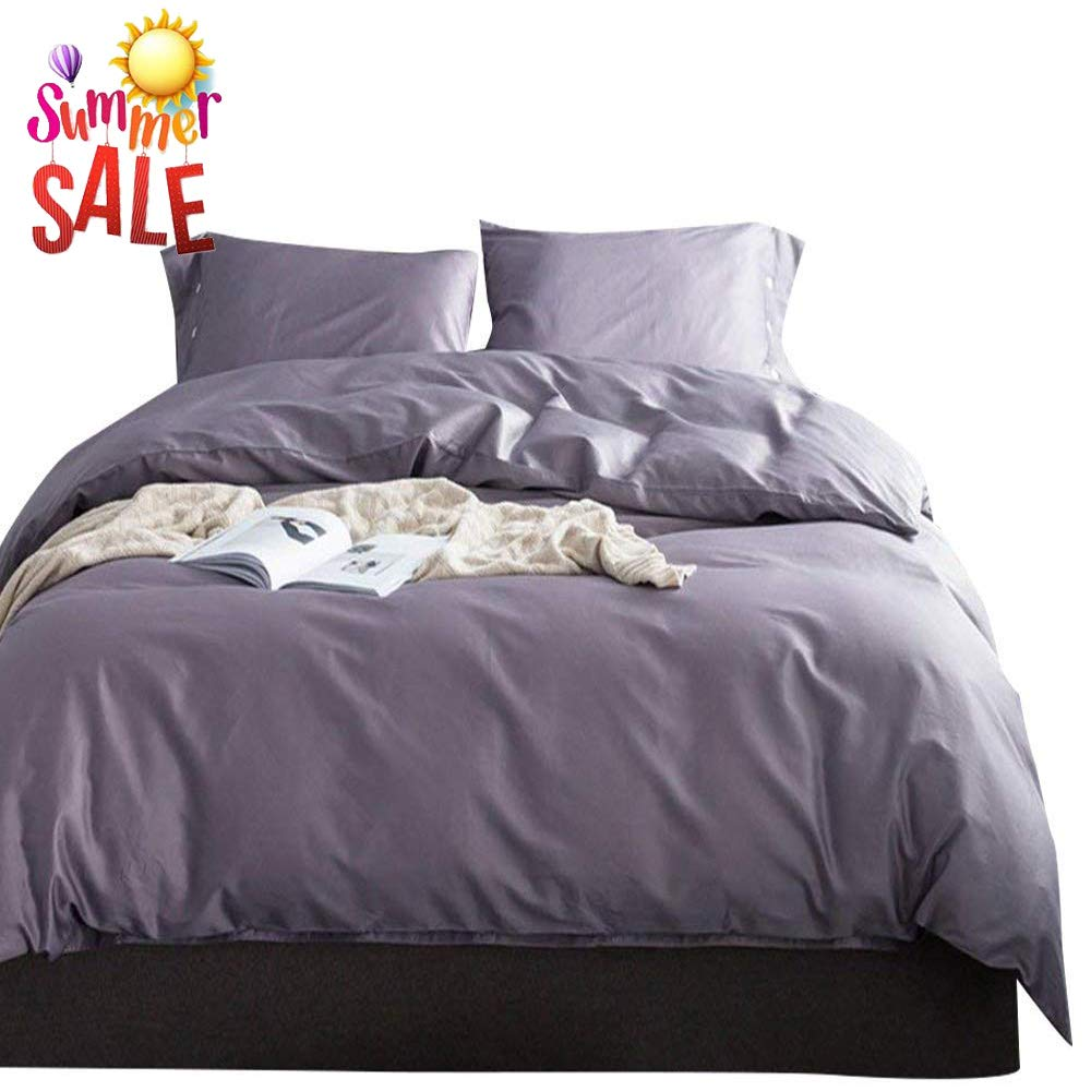 Purple & Grey Full Queen(90 x90 ) Modern Soft Solid bluee Duvet Cover Set Queen 3 Piece Luxury Bedding Set Full Lightweight Double Yarn Cotton Duvet Quilt Cover Set with Zipper Closure and Corner Ties Queen Bedding Collection