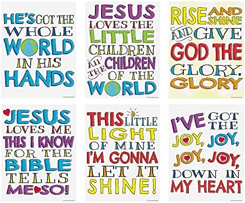 [해외]Fun Express Sunday School Religious Song Posters (Set of 6) / Fun Express Sunday School Religious Song Posters (Set of 6)