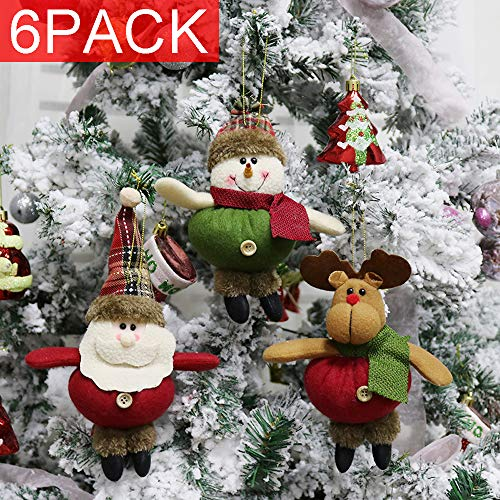 Renashed 6 Pack Plush Christmas Hanging Ornaments Decorations for Christmas Tree Santa/Snowman/Reindeer Ornaments Plush