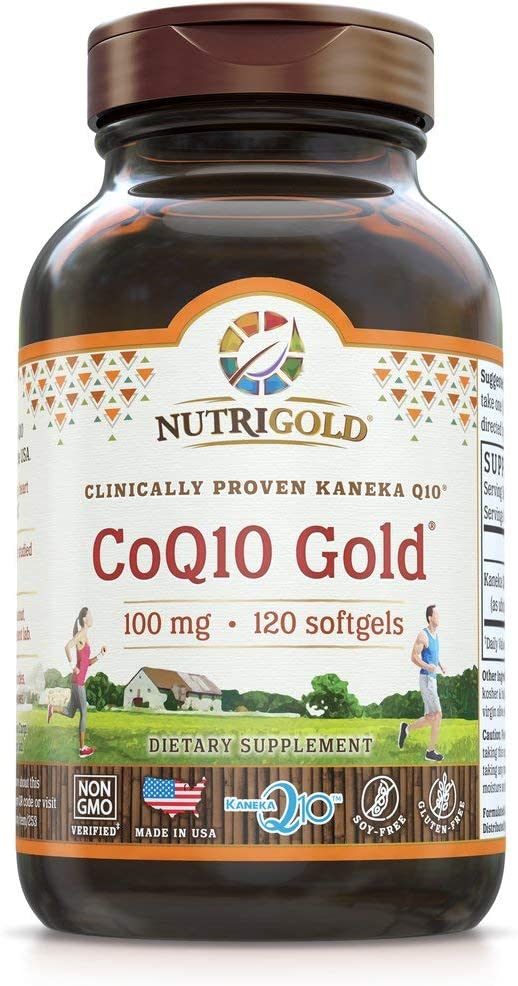 Nutrigold Coq10 100mg Softgels, 120Count, 1 Clinically-Proven Kanekaq10 Ubiquinone, High Absorption, Free of Soy, Made in USA