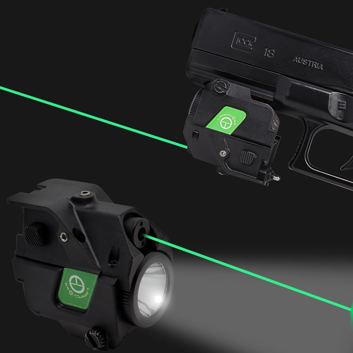 Lasercross Tactical Compact Green Dot Laser Sight,LED Flashlight Combo with 20mm Rail Picatinny On/Off Switch for Air Pistol,Airgun,Modem Semi-automatic Pistols,Handgun,Shotguns,Rifle etc (CLL103G)