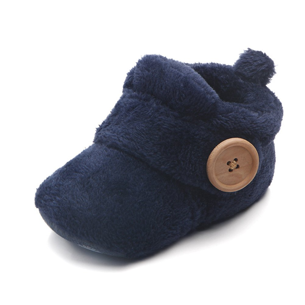 0-6 months 2.5 ,Blue Toddler Baby Boys Girls Boots Plush Warm Shoes Infant Coral Fleece Slippers Baby Scooties velvet prewalker