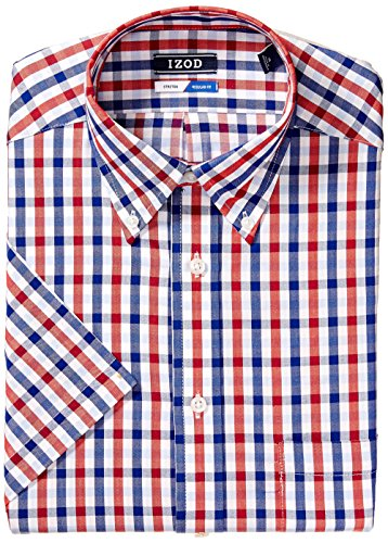 IZOD Men's Dress Shirts Short Sleeve Regular Fit Stretch, Riviera Blue, 16