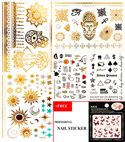 Real Looking Temporary Tattoos by CUPID, 150+ Tribal Henna Designs in Gold Silver and Black (5 Sheets), Perfect for Men, Women, and Kids