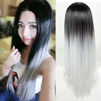 Aneshe Fashion Long Straight Two Tone Black To White Ombre Wig Heat Resistant Fiber Synthetic Hair