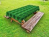 Ambesonne Irish Outdoor Tablecloth, Antique Tartan Inspired Symmetrical Checkered Diamond Line Plaid Fashion, Decorative Washable Picnic Table Cloth, 58 X 84 Inches, Green Dark Green Yellow