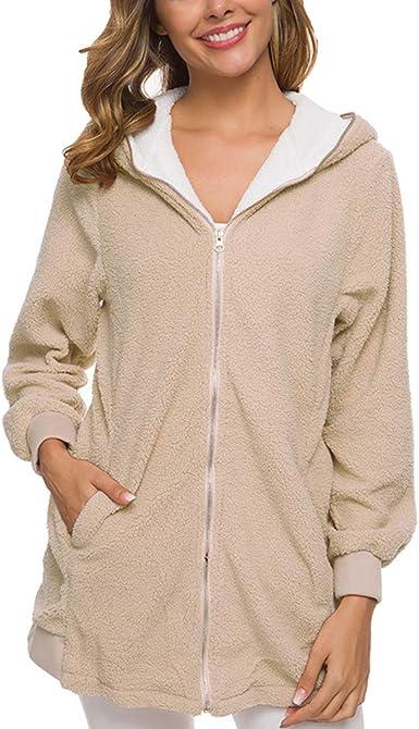 Duyang Women's Lamb Hair Zipper Cardigan Warm Jacket Fleece
