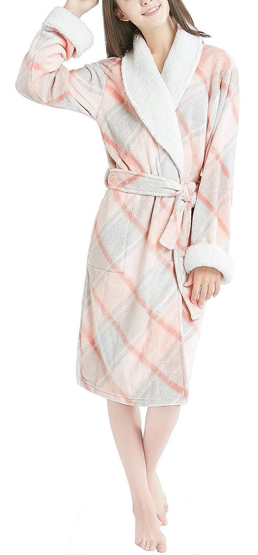 Ink+Ivy Plush Robes for Women - Plaid Fleece Ladies Robe Bathrobe ... b67f0476b