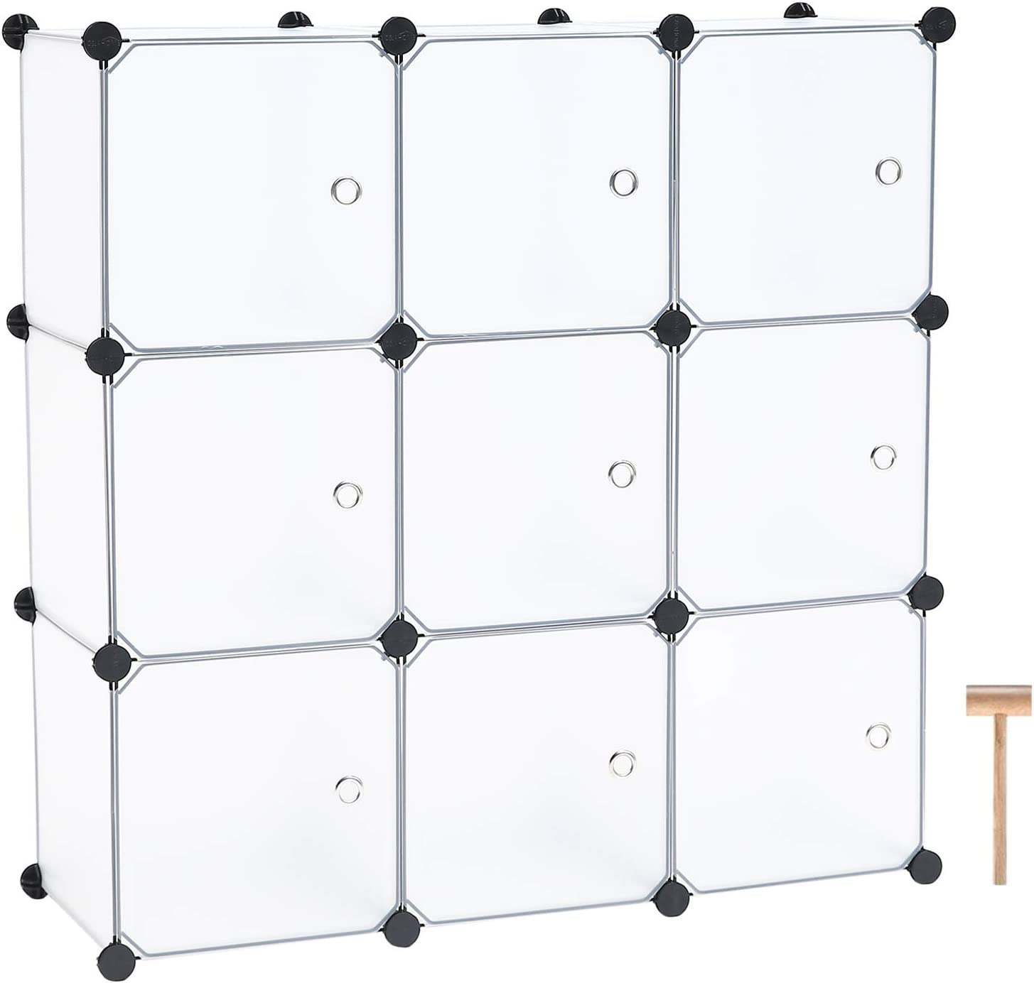 "C&AHOME Cube Storage Organizer, 9-Cube Plastic Closet Cabinet, Modular Bookshelf Units, Storage Shelves with Doors Ideal for Bedroom Living Room Office 36.6""L x 12.4""W x 36.6""H Translucent White"