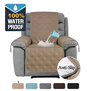 "H.VERSAILTEX 100% Waterproof Furniture Protector for Recliner Sofa Cover for Leather Sofa, Non-Slip Protector for Recliner Chair Cover Protect from Pets Kids (Recliner 79"" x 68"", Taupe)"