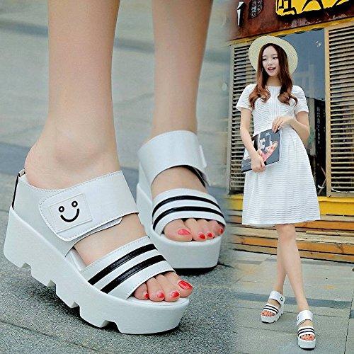 Female Femeninas de 39 TYERY Gruesa Zapatos de Sandalias de Tipo Muffins Zapatillas de Mujer Femenino Gris Antideslizantes Suela con Slender fAxPagAwq