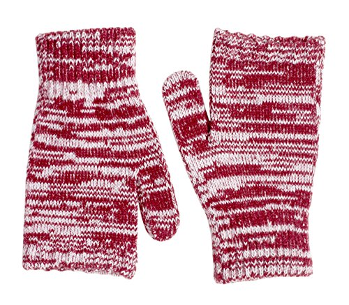 Sportoli Women's Cable Knit Cold Weather Accessory Set Warm Pull On Hat Scarf and Gloves (Maroon / White)
