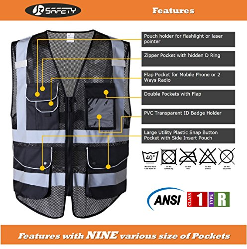 JKSafety 9 Pockets Class 2 High Visibility Zipper Front Safety Vest With Reflective Strips,HQ Breathable Mesh, Oxford Fabric for pocket materials. Black Meets ANSI/ISEA Standards (X-Large, Black) … by JKSafety (Image #2)