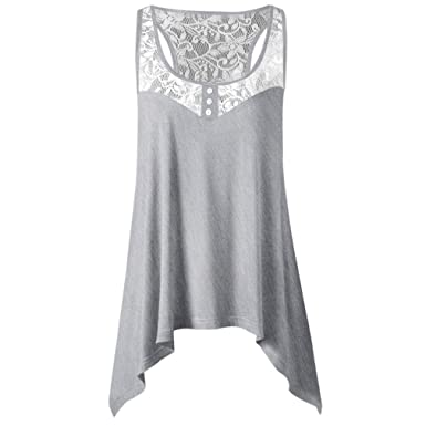 f25a140cff23d4 Halijack Women s Summer Vest Irregular Lace Patchwork Tank Tops Fashion  O-Neck Loose Casual Vest