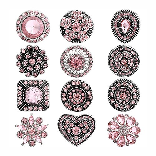 Soleebee 12pcs Alloy Rhinestones Same Color Snap Buttons Jewelry Charms (Pink 2) (Pink Rhinestones Snap)