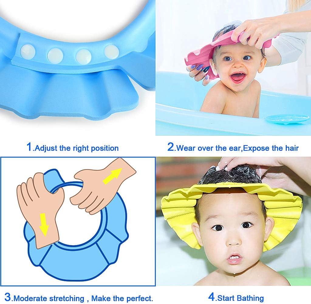 4pcs Soft Adjustable Baby Kids Children Shampoo Bath Bathing Shower Cap Hat Wash Hair Shield Hat R EWIN