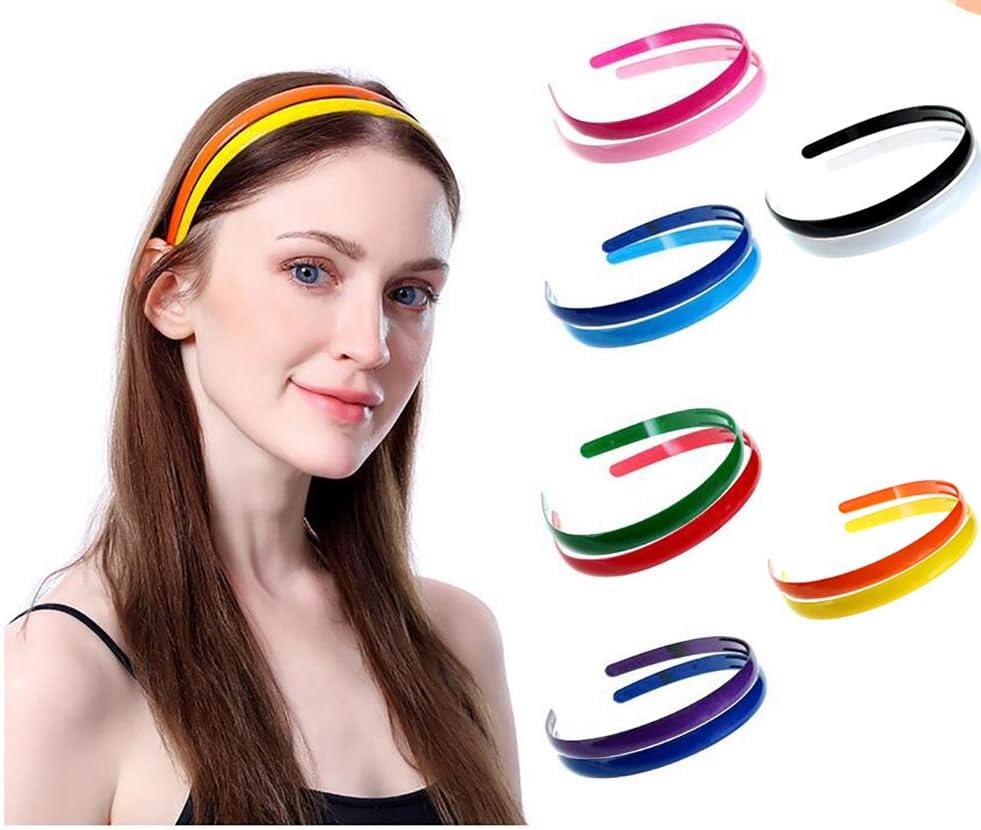 Benrise 12 diademas de plástico para el pelo con dientes, para niñas y mujeres, de 0,5 pulgadas de ancho (mezcla de 12 colores)
