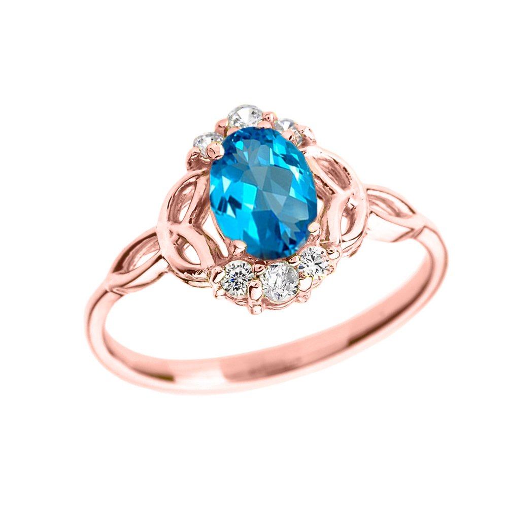 Elegant 14k Rose Gold Diamond Trinity Knot Proposal Ring with Genuine Blue Topaz (Size 12)