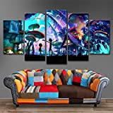 #9: 5 Panels Canvas Painting SHROOM WORLD RICK AND MORTY Wall Art Painting