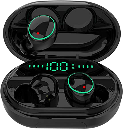 Amazon Com Bluetooth 5 0 Headphones Wireless Earbuds Ipx8 Waterproof Stereo Earbuds With Microphone Led Battery Display 120h Playtime Noise Cancelling Headset With Charging Case For Sports Home Audio Theater