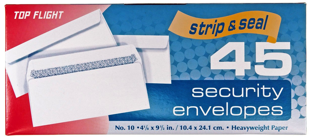 Top Flight 6900120 Number 10 Boxed Security Envelopes, Strip and Seal Closure, 4 1/8 x 9 1/2-Inches, 45 Envelopes per Box (White) Top Flight Inc.