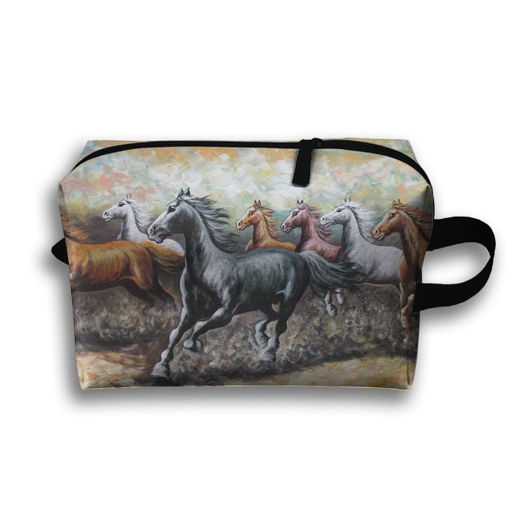 Jingclor Travel Case Cosmetic Storage Bags Eight Fine Horses Painting Makeup Clutch Pouch Zipper Wallet Pencil Holder