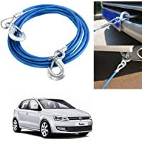 AutoKraftZ Car Tow Cable Heavy Duty Towing Pull Rope Strap Hooks for Volkswagen Polo