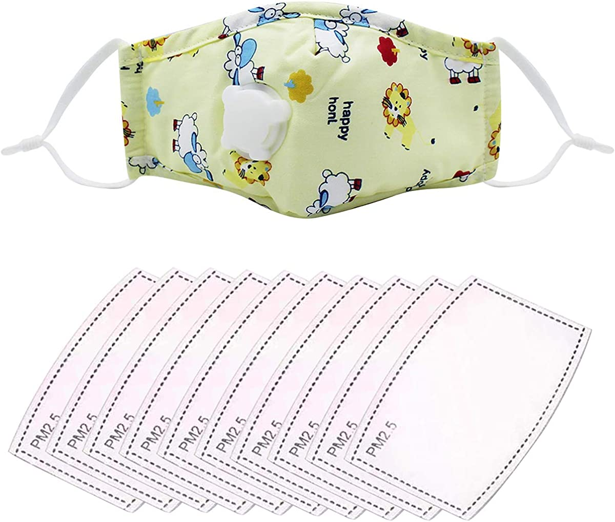 Eilova Orityle 1 Yellow Cotton Mouth Cover Reusable Cute Cartoon Print & 10 PCS Pads for Unisex