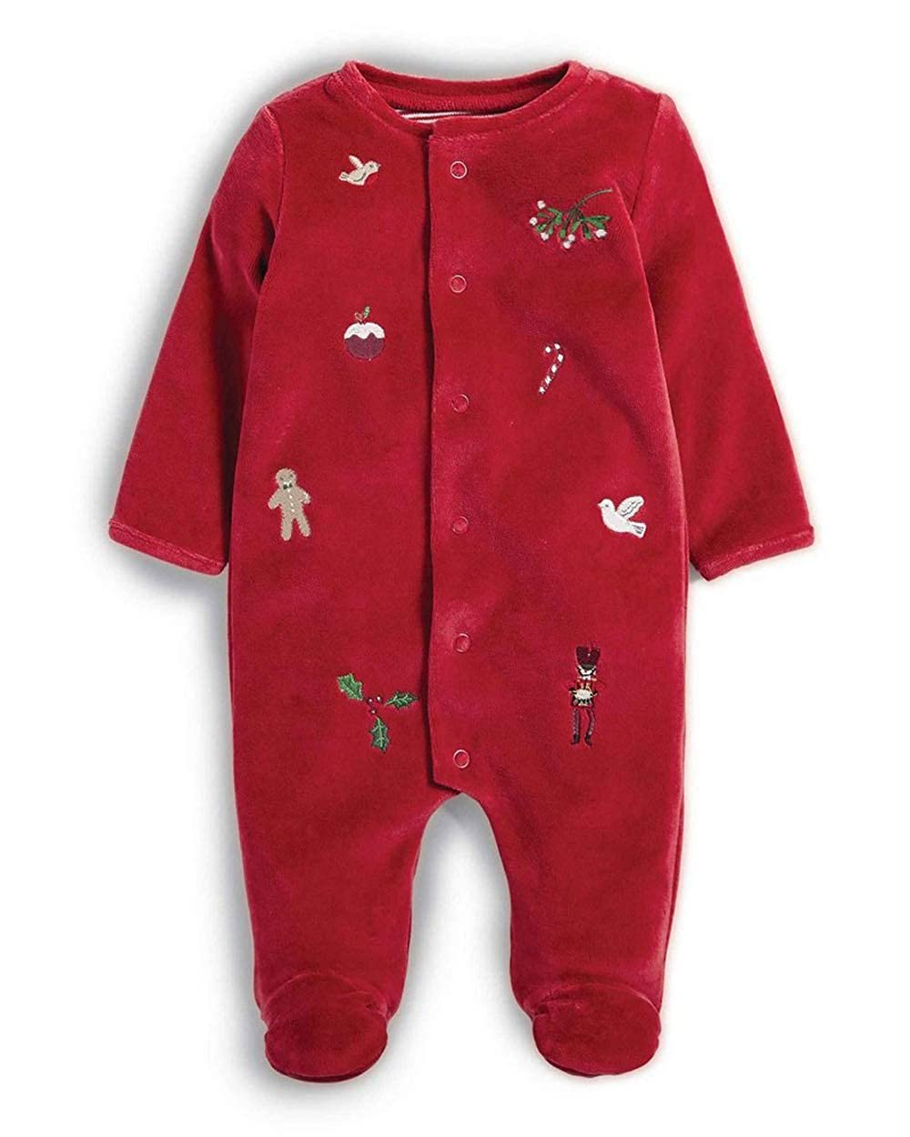 Mamas & Papas Red Velour All in One Embroidery Detailing Christmas Sleepsuit - 3-6 Months