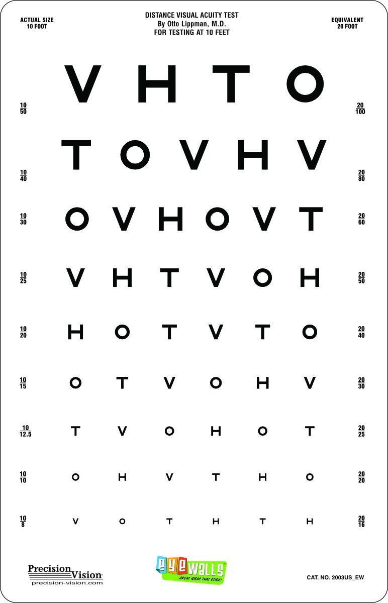 Amazon com: Kids Peel/Stick Eye Chart with Sloan Letters