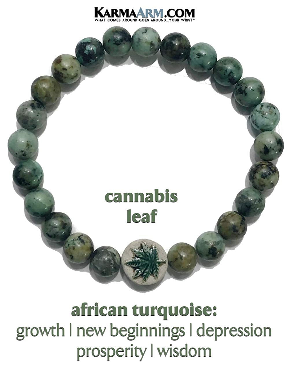 Reiki Healing Energy Mantra Zen Jewelry Yoga Chakra Stretch Beaded Charm Bracelets Self-Care Wellness Wristband KarmaArm Meditation Bracelet Growth : African Turquoise Pot Cannabis Leaf