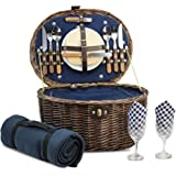 Unique Willow Picnic Basket for 2 Persons, Natural Wicker Picnic Hamper with Service Set and Insulated Cooler Bag - Best Gift