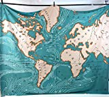 Muses Teal Ocean World Map Tapestry Textile Art D¨¦cor
