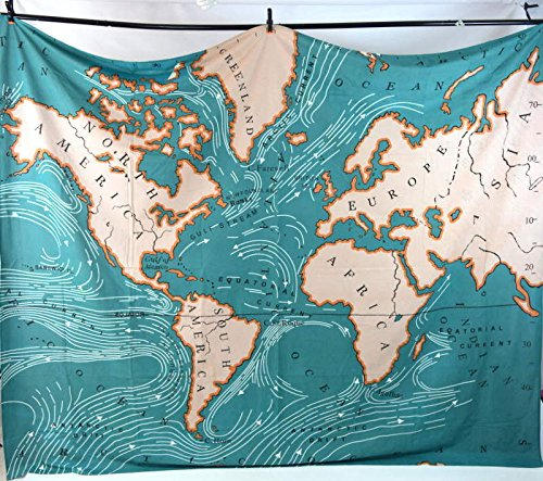 (Muses Teal Ocean World Map Tapestry Textile Art D¨¦cor)
