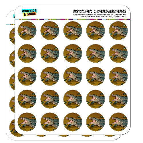 """Alligator in Swamp with Lily Pads 1"""" Planner Calendar Scrapbooking Crafting Opaque Stickers"""
