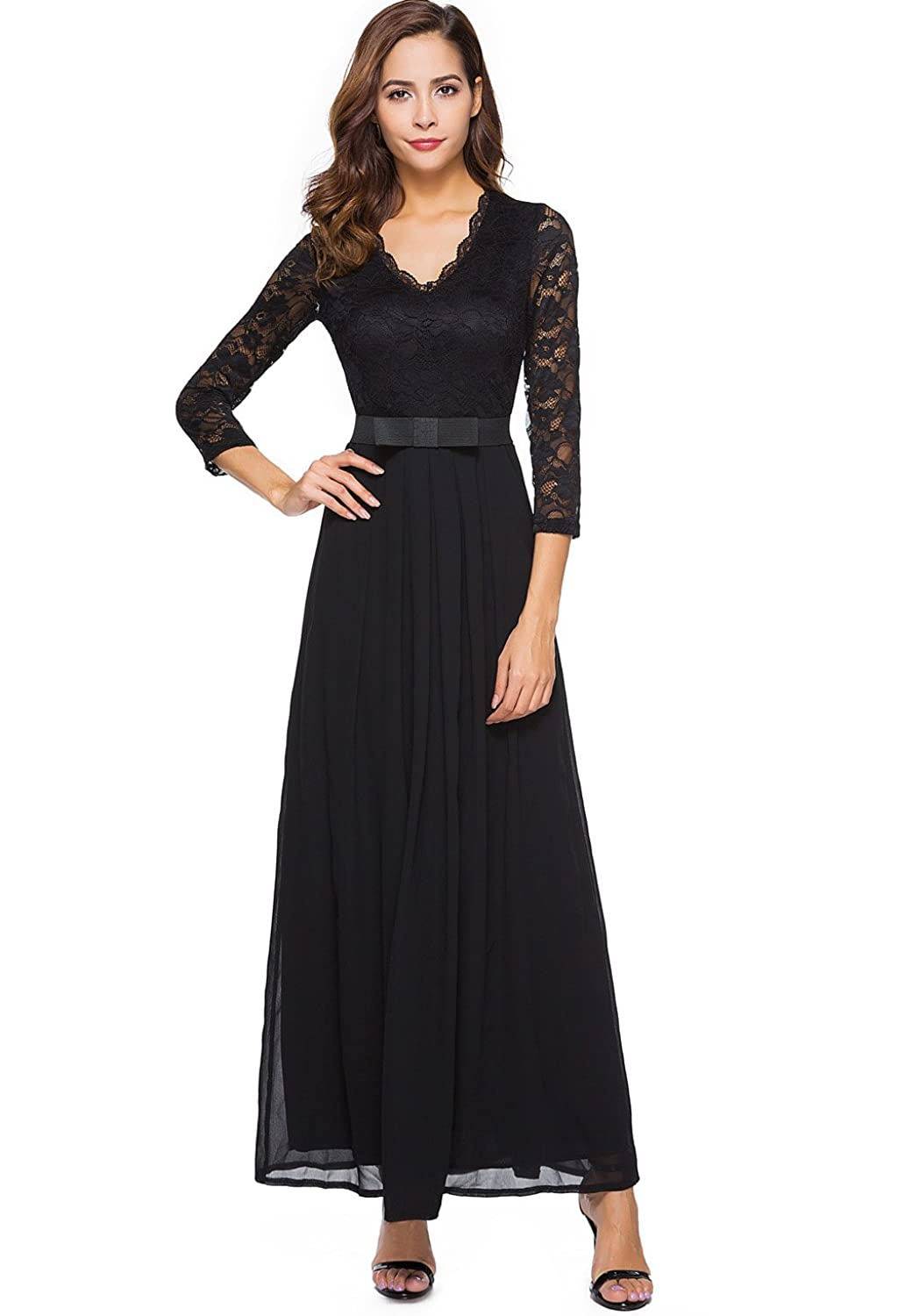 Victorian Dresses, Clothing: Patterns, Costumes, Custom Dresses Berydress Womens Vintage Floral Lace 3/4 Sleeve Evening Party Formal Dress Chiffon Long Maxi Dress $31.00 AT vintagedancer.com