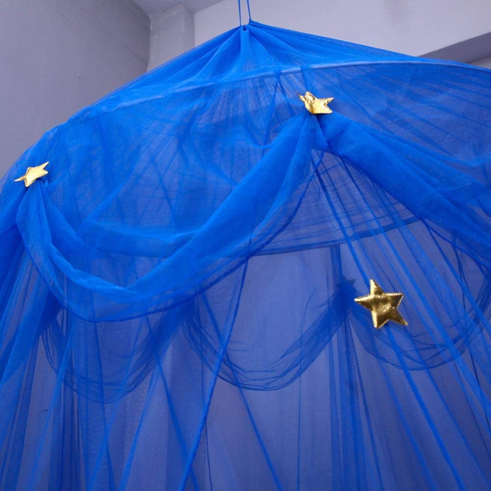 Childrens Dome Mosquito Net Blue Star Dreamy Fantasy Hanging Lace Bed Canopy Play Tent Bedding for Kids Playing Reading Canopy European Korean Round Bedroom Mosquito Netting
