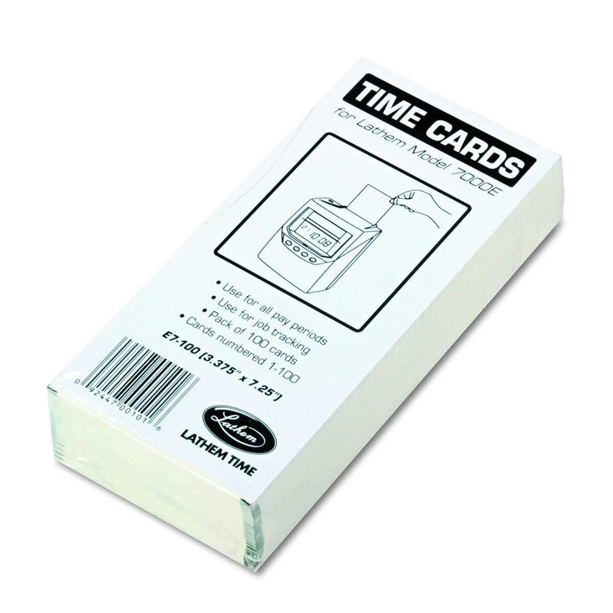 Lathem Time E7-100 Universal 2-Sided Time Cards For 7000E Time Recorder, Numbered 1-100, 100/Pack E7100