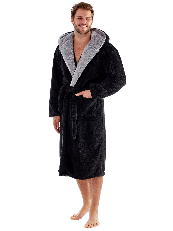 Bata de forro polar suave con capucha y forro de contraste de 260/g//m/² para hombre Harvey