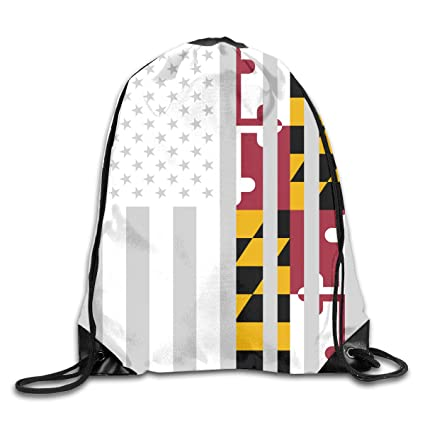 Image Unavailable. Image not available for. Color  Men s and Women s  Drawstring Backpack Bag American Maryland Flag ... 191b9c1fd